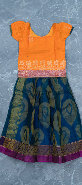 Orange Silk Cotton Kids Paavadai