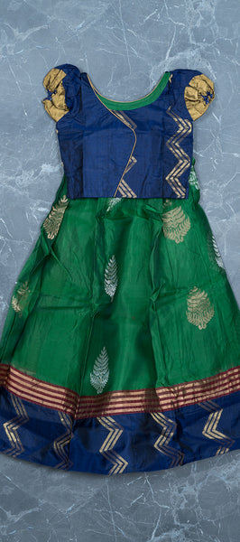 Dark Blue Silk Kids Cotton Paavadai