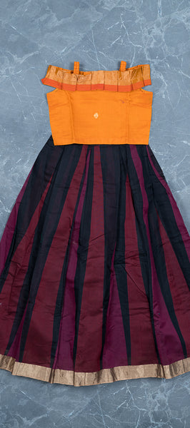 Orange SIlk Cotton Kids Top & Skirt ( 6-7 YEARS )