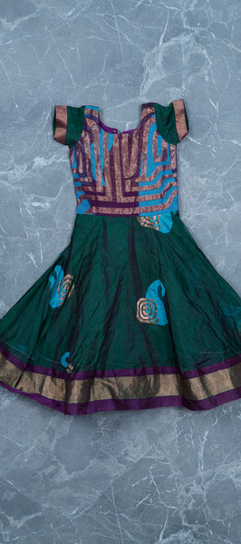 Purple & Green Silk Cotton Kids Gown (2-3 years)