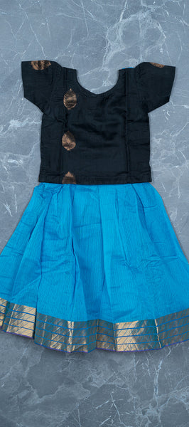 Black and Sky Blue Silk Cotton Kids Paavdai