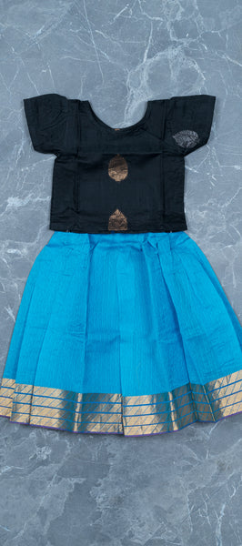 Black and Sky Blue Kids Silk Cotton Paavdai