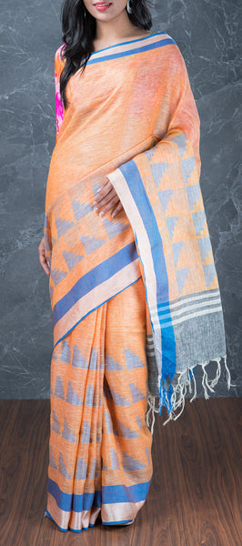 Orange Linen Saree
