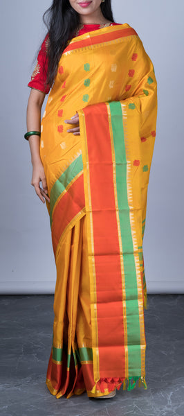 Mango Yellow Softsilk Saree