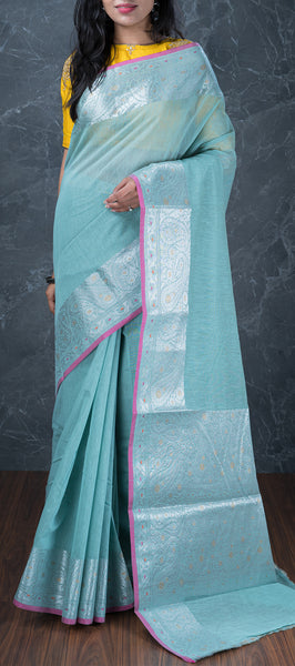 Sky Blue Semi Silk Cotton Saree with Linen Finish