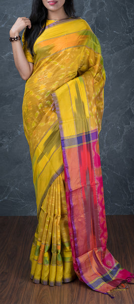 Yellow Semi Softsilk Saree with Ikhat Patterns