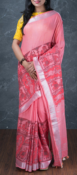 Lemonade Pink Semi Linen Saree