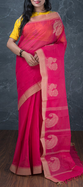 Ethnic Pink Cotton Saree