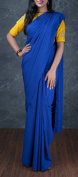 Royal Blue Semi Chiffon Saree