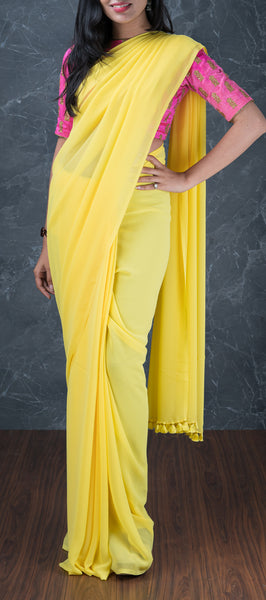 Yellow Semi Chiffon Saree