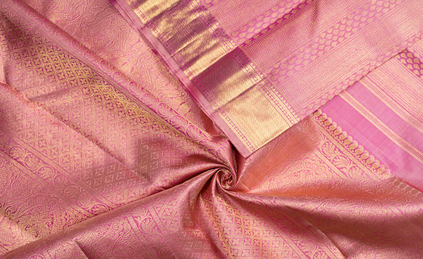 Onion Pink Bridal Kanchipuram Silk Saree