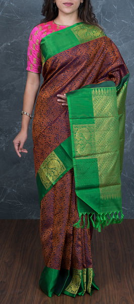 Dark blue kanchipuram silk saree with maroon threadwork