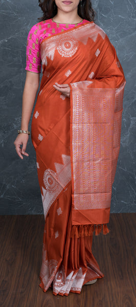 Burnt Orange Handloom Kanchipuram Silk Saree in Silver Zari