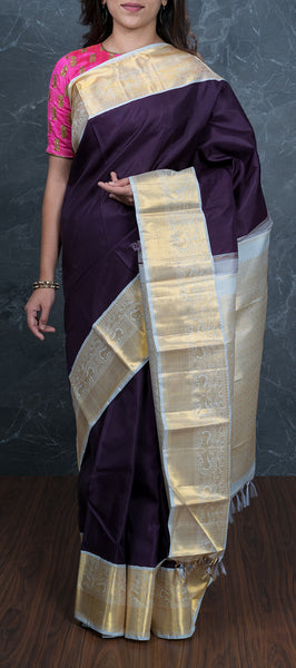 Wine Coloured Kanchipuram Silk Saree