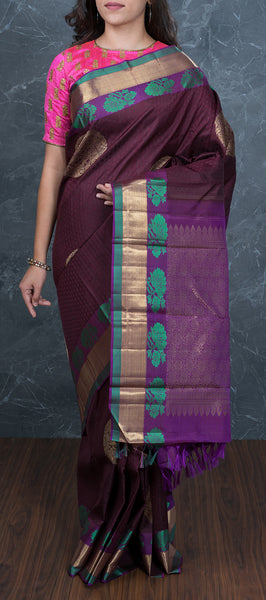 Dark brown handloom kanchipuram silk saree