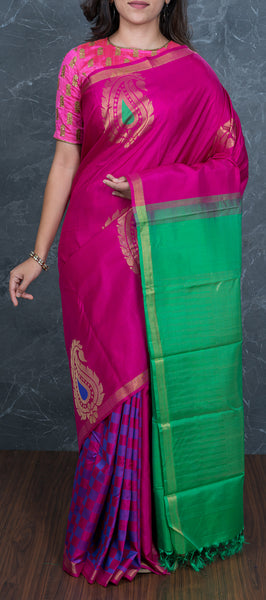Pink Handloom Kanchipuram Silk Saree