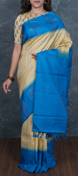 Beige Handloom Kanchipuram Silk Saree
