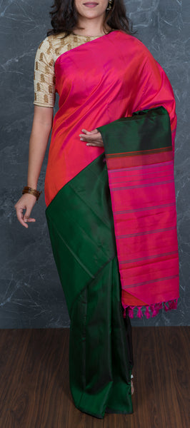 Green & Pink Kanchipuram Silk Saree