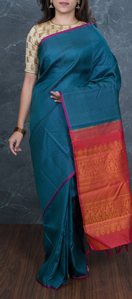 Dark Blue Borderless Handloom Kanchipuram