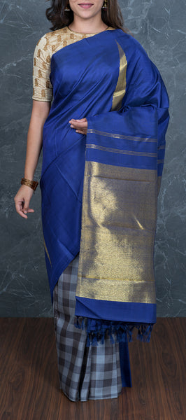 Dark Blue Handloom Kanchipuram Silk Saree
