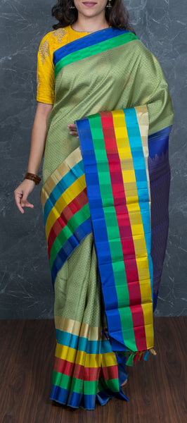 Olive green kanchipuram silk saree with multi-coloured border