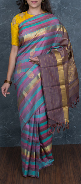 Multicolored Kanchipuram Silk Saree with Stripes