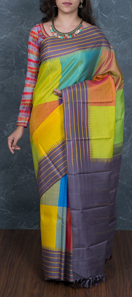 Multicolored Kanchipuram Silk Saree