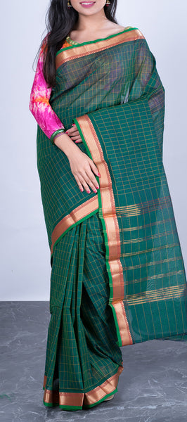 Forest Green Cotton Saree