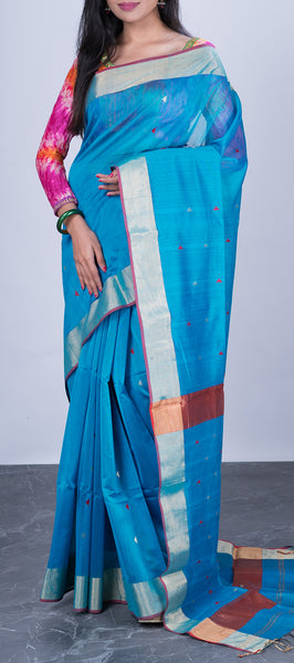 Sky Blue Maheshwari Silk Cotton Saree