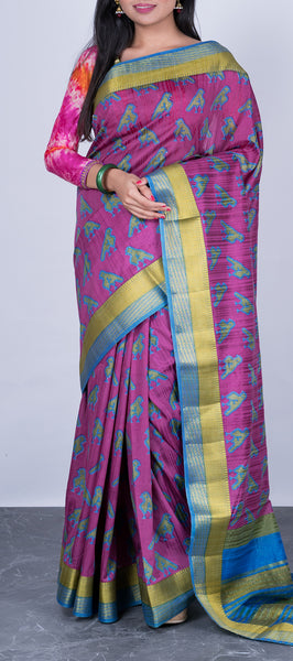Purple Semi Tussar Silk with Kalamkari Prints
