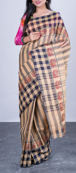 Buff Brown Cotton Saree