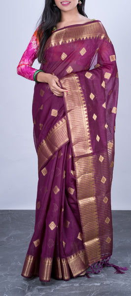 Purple Semi Benarasi Saree