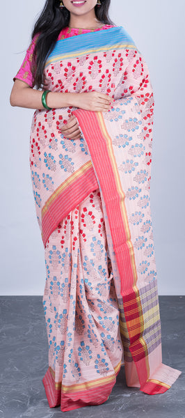 Off-White Cotton Saree