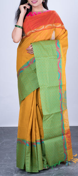 Mustard Simple Cotton Saree