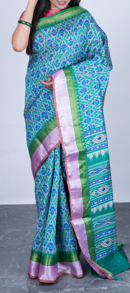 Light Blue Semi Tussar Silk with Pochampalli Prints