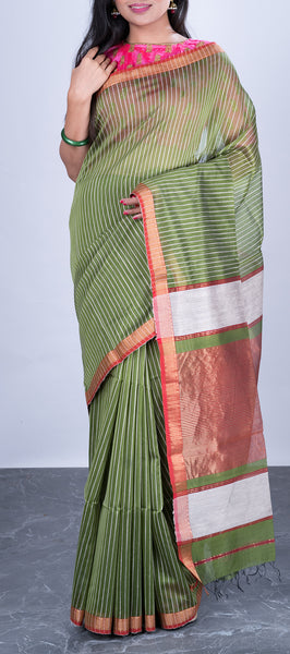 Olive Green Silk Cotton Saree