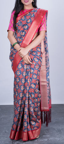 Multicoloured Semi Linen Saree with Ikhat Prints