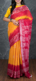 Mango Yellow Semi Tussar Silk with Bhatik Prints