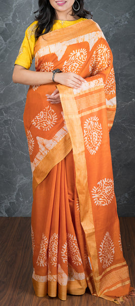 Orange Semi Tussar Silk with Bhatik Prints