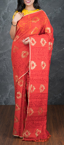 Red Kora Silk Saree