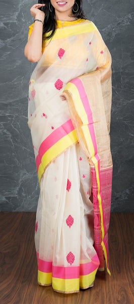 White Silk Cotton Saree