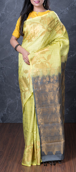 Neon Green Softsilk Saree