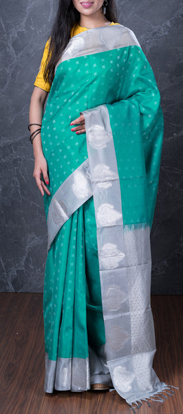 Teal Green Lightweight Kanchipuram Silk Saree
