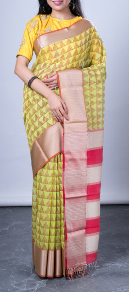 Lime Green Maheshwari Silk Cotton Saree
