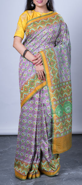 Semi Tussar Silk with Pochampalli Patterns