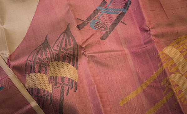 Mauve Pure Kanchipuram Handloom Silk Saree With Pure Zari