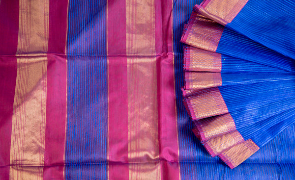 Blue & Purple Maheshwari Cotton Saree