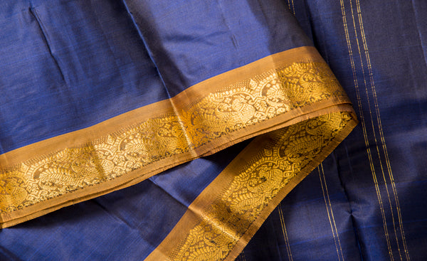 Dark Blue & Light Brown Lightweight Kanchipuram Silk Saree