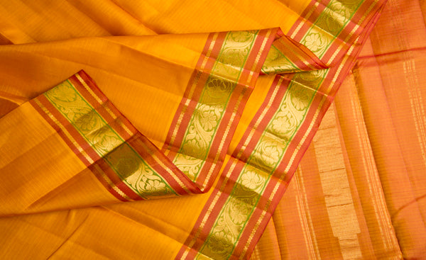 Mustard & Red Lightweight Kanchipuram Silk Saree