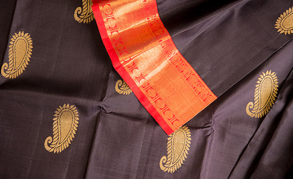 Black & Red Pure Kanchipuram Handloom Silk Saree